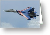 Featured Greeting Cards - A Sukhoi Su-27 Flanker Of The Russian Greeting Card by Remo Guidi