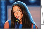 Pocket Painting Greeting Cards - Alanis Morissette  Greeting Card by Paul Meijering