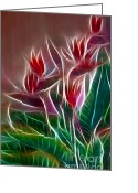 Polyptych Greeting Cards - Bird of Paradise Fractal Greeting Card by Peter Piatt