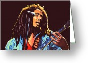 Jamming Painting Greeting Cards - Bob Marley Greeting Card by Paul Meijering