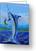 Marlin Azul Greeting Cards - Caribbean blue Greeting Card by Carey Chen