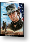 Drifter Greeting Cards - Clint Eastwood American Legend Greeting Card by Andrew Read
