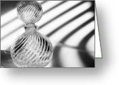 Black And White Glass Art Greeting Cards - Curvature Greeting Card by Tom Druin