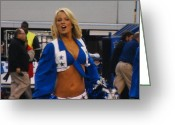 Cheerleader     Greeting Cards - Dallas Cowboys Cheerleader Greeting Card by Donna Wilson