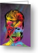 Rock Drawings Greeting Cards - David Bowie Greeting Card by Mark Ashkenazi