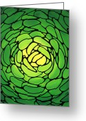 Green Artichoke Greeting Cards - Emerald Heaven Greeting Card by Sharon Cummings