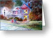 Haunted House Print Greeting Cards - Halloween Trick Or Treat Greeting Card by Bill Holkham