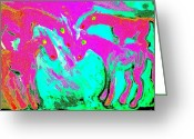 Equus Pastels Greeting Cards - Horses Greeting Card by Hilde Widerberg