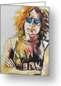 Music Artists Greeting Cards - John Lennon Greeting Card by Chrisann Ellis