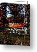Indiana Autumn Greeting Cards - Mail Pouch Barn Greeting Card by Brook Steed