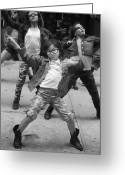 Black And White Glass Art Greeting Cards - New York Dance Parade 2013 Young Female Dancer Greeting Card by Robert Ullmann