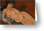 Modigliani Greeting Cards - Nude on a Blue Cushion Greeting Card by Amedeo Modigliani
