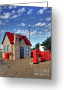 Gas Stations Greeting Cards - On Route 66  Greeting Card by Mel Steinhauer