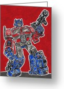 Black Widow Painting Greeting Cards - Optimus Prime  Greeting Card by Matt Molleur