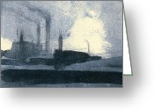 Intaglio Etching Greeting Cards - Passing A Factory Greeting Card by Steve Dininno