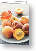 Peach Greeting Cards - Peaches on plate Greeting Card by Elena Elisseeva