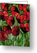 Panel Glass Art Greeting Cards - Poppies Greeting Card by David Kennedy