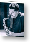Musicians Glass Greeting Cards - Saxophone Player 2 Greeting Card by Carolyn Marshall