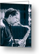 Musicians Glass Greeting Cards - Saxophone Player Greeting Card by Carolyn Marshall