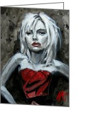 Red Dress Painting Greeting Cards - Scarlett Red Letter Greeting Card by Lance Vaughn