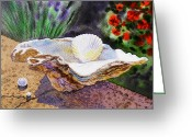 Irina Greeting Cards - Sea Shell and Pearls Greeting Card by Irina Sztukowski