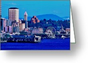 Seattle Waterfront Greeting Cards - Seattle Waterfront Greeting Card by Benjamin Yeager