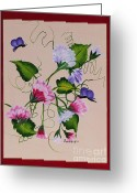 Butterflies And Blue Flowers Greeting Cards - Sweet Peas and Butterflies Greeting Card by Barbara Griffin