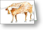 "\\\""texas Artist\\\\\\\"" Greeting Cards - The Champion Longhorn Greeting Card by Kathleen McElwaine"
