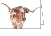 "\\\""texas Artist\\\\\\\"" Greeting Cards - The Original Texas Longhorn Greeting Card by Kathleen McElwaine"