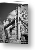 Flags Greeting Cards - Tower bridge in London Greeting Card by Elena Elisseeva