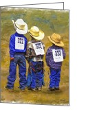 Western Digital Art Greeting Cards - Triple Threat Greeting Card by Robert Albrecht