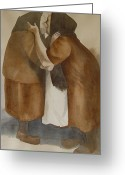 Slavic Painting Greeting Cards - Two Old Friends Greeting Card by Sarah Buell  Dowling