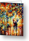Rain Painting Greeting Cards - Under one umbrella Greeting Card by Leonid Afremov