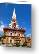 Tropical Photographs Greeting Cards - Wat Chalong Phuket Thailand  Greeting Card by Julia Fine Art