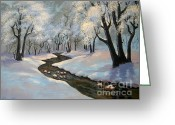 Snow Scenes Greeting Cards - Winter 06 Greeting Card by Shasta Eone