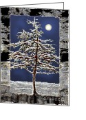 Snowy Night Greeting Cards - Winter Moon Greeting Card by Ursula Freer