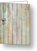 Wood Sculpture Greeting Cards - Yellow Door Greeting Card by Asha Carolyn Young