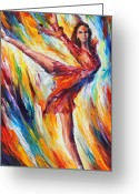Leonid Afremov Greeting Cards - Candle Fire Greeting Card by Leonid Afremov
