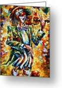 Leonid Afremov Greeting Cards - Clown Greeting Card by Leonid Afremov
