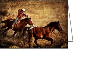 Cowboy Digital Art Greeting Cards - Dust And Determination Greeting Card by Robert Albrecht