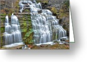 Ebb And Flow Greeting Cards - Finger Lakes Waterfall Greeting Card by Robert Harmon