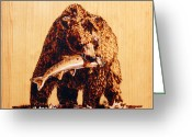 Wood Pyrography Greeting Cards - Grizzly Greeting Card by Ron Haist