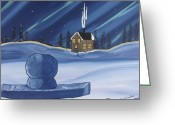 Winter Prints Greeting Cards - Inukshuk Greeting Card by Beverly Livingstone