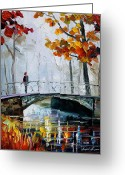 Leonid Afremov Greeting Cards - Little Bridge Greeting Card by Leonid Afremov