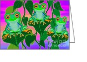 Red-eyed Frogs Greeting Cards - 3 Little Frogs On Leafs Greeting Card by Nick Gustafson