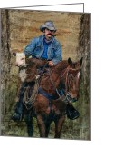 Cowboy Digital Art Greeting Cards - Little Stray Greeting Card by Robert Albrecht