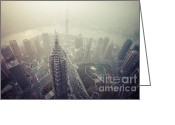 Co2 Greeting Cards - Shanghai Pudong skyline Greeting Card by Fototrav Print
