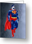 Wonder Woman Greeting Cards - Superman  Greeting Card by Mark Ashkenazi