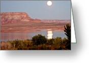 Moonrise Digital Art Greeting Cards - 4-55 PM Moonrise over Lake Powell-2012 Greeting Card by Ruth Hager