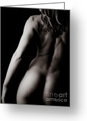 Spine Greeting Cards - Classic Black and White Art of a Womans Back and Arms  Greeting Card by JT PhotoDesign